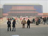 One of the main temples in The Forbidden City under restoration for the Beijing Olympics. This is a screen up around the work site painted to look as the temple is meant to look.: by bundynbeaches, Views[355]