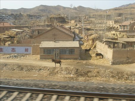 yet another Chinese village the train passed through. Lost count of the number of people squatting besides the tracks. Some even waved.