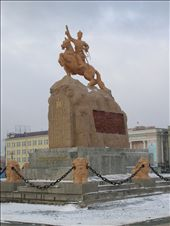 Statue of Sukhbaatar in a square named after him in front of Parliament House. This was taken on my last day in town, in the snow!: by bundynbeaches, Views[1415]