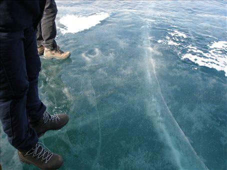 One metre thick layer of ice over Lake Baikal, Siberia