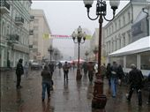 Arbat Street in Moscow. It's a pedestrian street with heaps of performers and activities are always going on. It only emptied out because of the weather, it's usualy busy all night.: by bundynbeaches, Views[402]