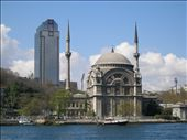 The old and the new ın Istanbul .. The Dolmabahce Mosque ın front of the Hyatt Hotel.: by bundynbeaches, Views[400]