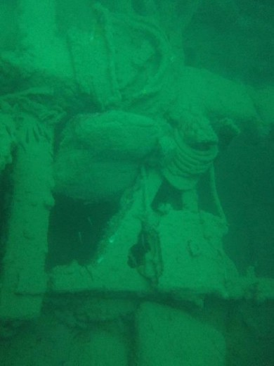 A view of the cement mixer in one of the holds of the Kogyo Maru wreck in Coron Bay