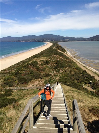 The narrow stretch of land between north and south Bruny Island