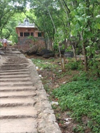 Steps and small sign to vippu cave