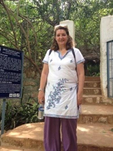 Veronica outside Virupakshi Cave