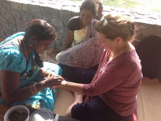 Priya applying henna