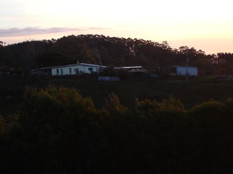The farm at sunset.