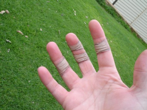 My poor hands...That's four plasters, count 'em, four