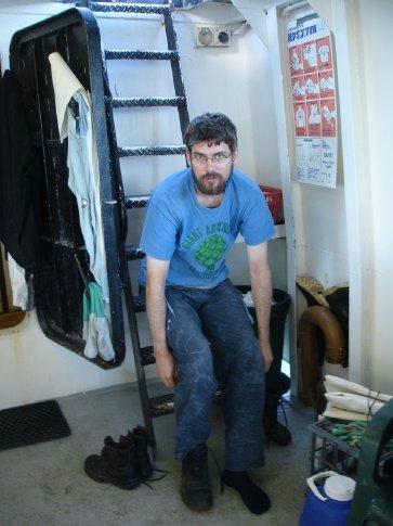 Unhappy crew member, blocking ladder.