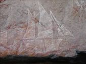 Aboriginal rock art, Nourlangie. Depicts a sailing ship, which came to grab the skins of various animals killed in the area.: by candjmcshane, Views[1233]
