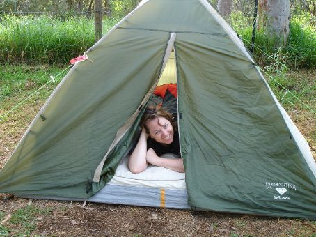 Hah! Proof that I am indeed camping and it is not all a lie. Note camping bedhead is slightly worse than normal bedhead.
