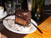 Chocolate Mars Bar Cake, one of the many artery filling horrors of Max's, a cafe where Death by Chocolate is a sad fact of life, rather than a delightful dessert.: by candjmcshane, Views[13947]