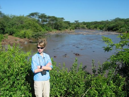 Me with the hippos and the crocs.  It was very hot that day and I was getting attacked by bugs...