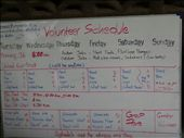 50 volunteers split up in 4 groups. I was in group D. The best group of them all!  This was our work schedule for the week. : by capecodkiwi, Views[91]