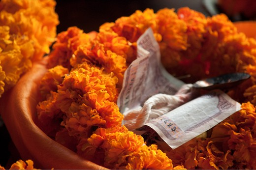 A traditional religious offering in a Nepalese temple in Kathmandu.