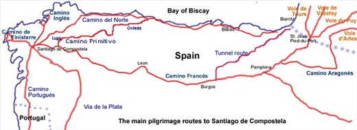 my route-- from Santiago to Finisterre-Land's End!