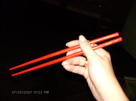 my new red wooden sticks