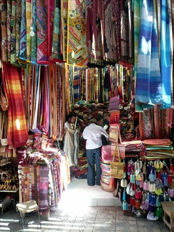Lyn and Catherine checking out the local silks, Marrakech