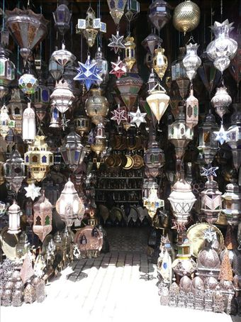 Lamp stall in the souk, Marrakech