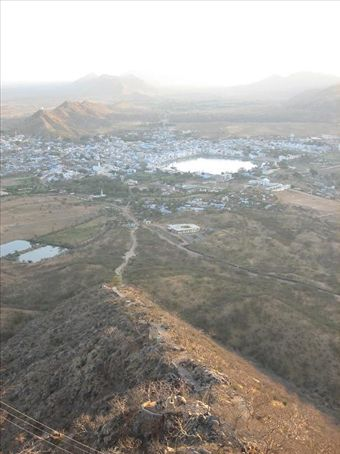 Pushkar at dawn from Shivitri's Temple