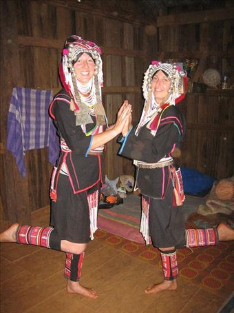 Cat and Cheryl in traditional Akha gears