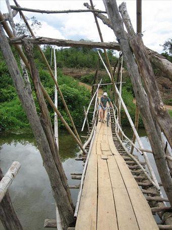 Dodgey bridges in Vang Vieng