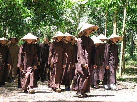 Monks out for a post-prayer meditative walk, Hue.