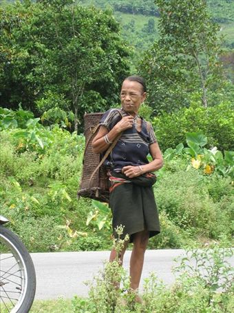 Who says smoking will kill you? 80 years old and out to get firewood, Muong Hill Tribe Village, Central Highlands