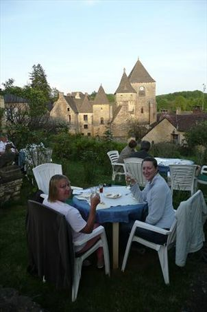 It's a hard life - drinks overlooking the cute church in the tiny village of St Genies