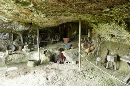 Kitchen in the troglodyte cave of Roque St Christophe near Lascaux