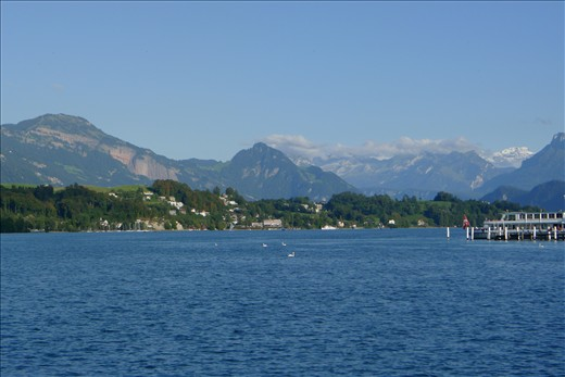 Lake Lucerne with Swiss Alps in the background