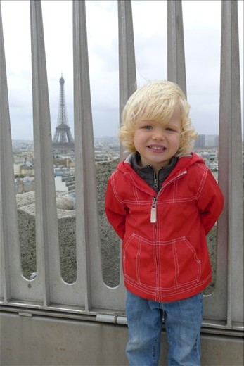 On top of Arc de Triomphe with Eiffel Tower in back
