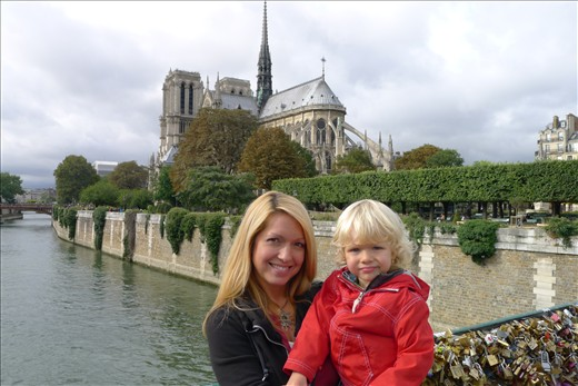 On Pont Neuf Bridge behind Notre Dame