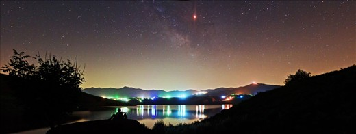Panoramic view of total lunar eclipse which occurred on 16 Jun 2011, Taleghan lake_ Combine of 9 image, Taken by canon 40D with 28_105mm lens. Edited by PTgui & Photoshop SC5 software.