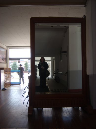 Big mirror in the hall of ChungMu Middle school