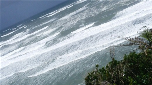 Best view of the waves I could get from the bus