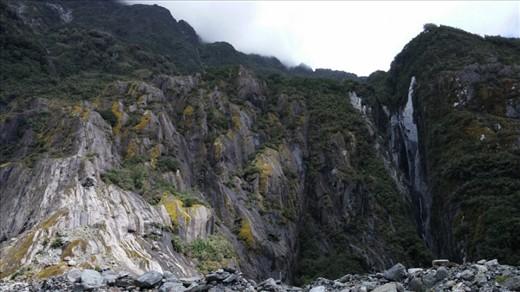 Glacier valley side walls. Beautiful cliff faces.