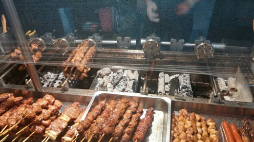 Meat on a stick- street market food