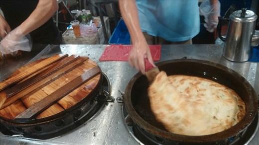 Pancake being fried up