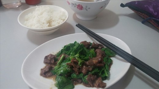 Beef with greens- amazing dish! Beef was so incredibly tender.