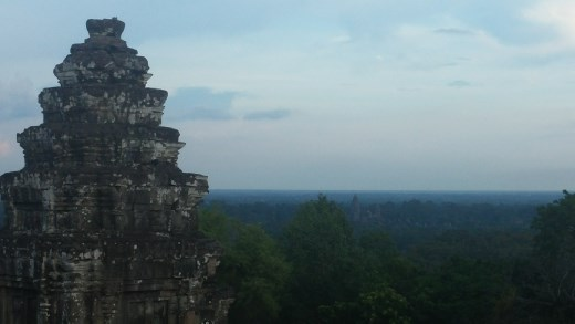View of main Angkor Wat temple from the mountain temple