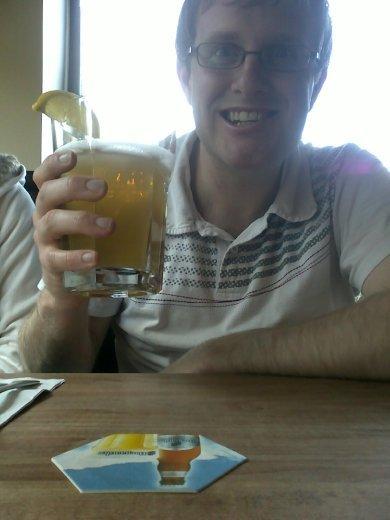 Adam and his big bad ass beer, Earls... May 8th