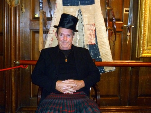 John in top hat and kilt at Blair Castle.