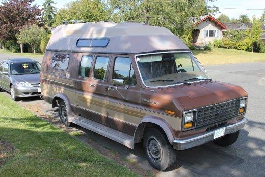 Charles's big brown van