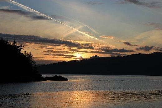 Sunset over desolation sound