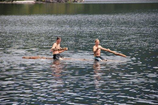 Fun times with logs at Unwin lake