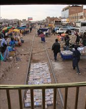 Market along and between tracks in Juliaca: by chris_and_dusk, Views[159]