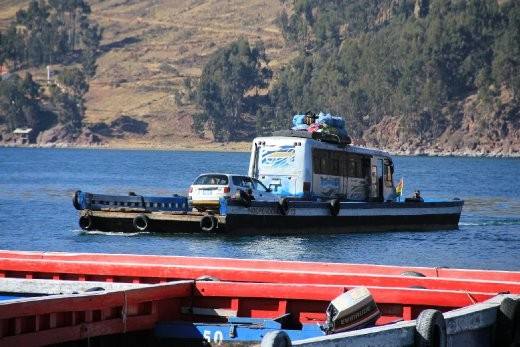 On the way to La Paz. Our bus is on the raft while we took a dodgy overcrowded passenger boat.