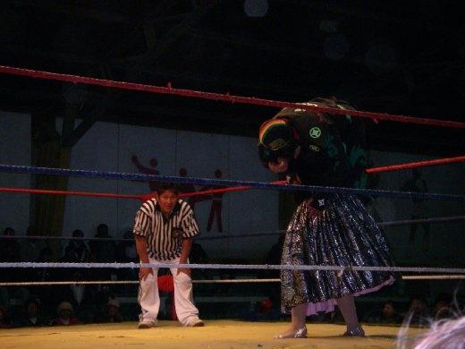 Cholita wrestling, think WWF with skirts